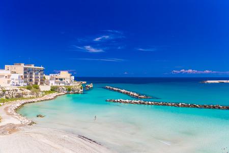 Beautiful town of Otranto and its beach, amazing sea colors, Salento peninsula, Puglia region, Italy