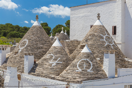 Beautiful town of Alberobello with trulli houses, main turistic district, Apulia region, Southern Italy Stock Photo