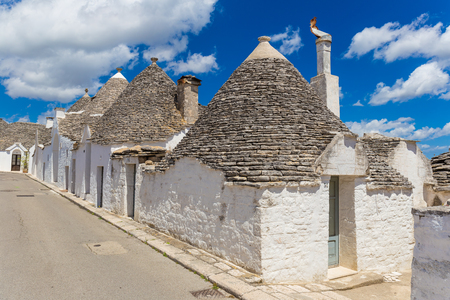 Beautiful town of Alberobello with trulli houses, out of main turistic district, Apulia region, Southern Italy