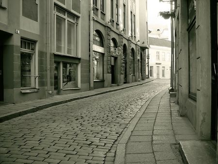 narrow street in the center of an old town Stock Photo - 738658