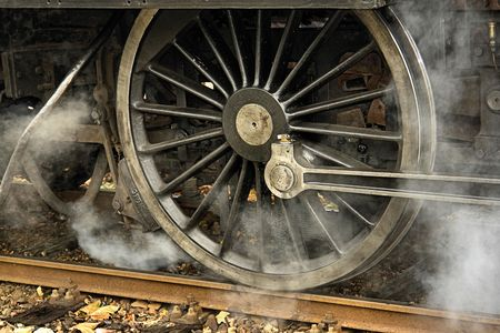 steaming wheel of a steam engine (detail) Stock Photo - 758135