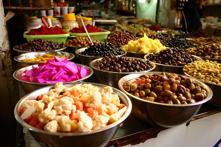 negev: Various pickles offered at the market in Ber Sheba, Israel Stock Photo