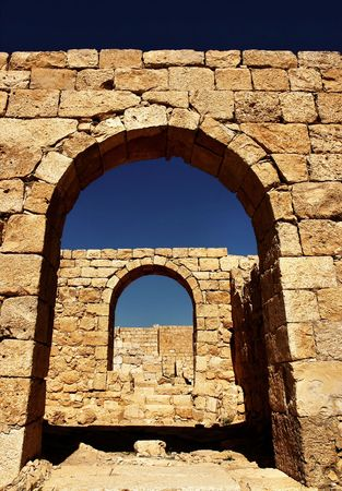 nabatean: Ruins of the Nabatean city of Avdat, Israel. Stock Photo