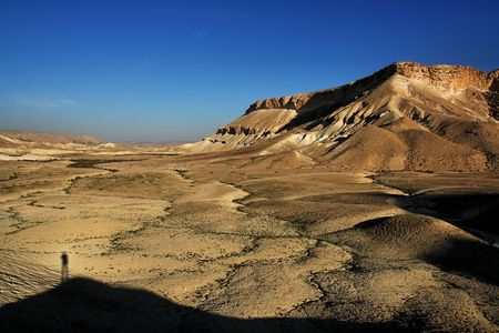 shadow of a man in the Negev desert, Israel photo