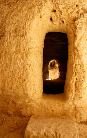 Cave house in the Nabatean city of Avdat Stock Photo