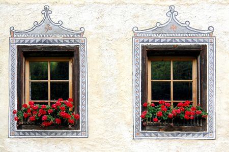 Windows on an antique house in Italy, detail
