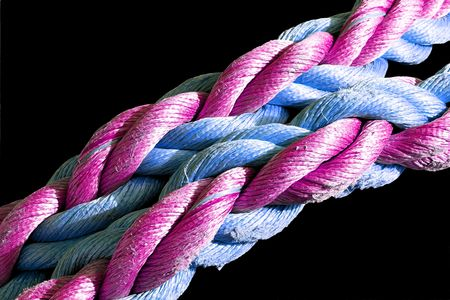 Detailed viewof a colored fishermans rope Stock Photo