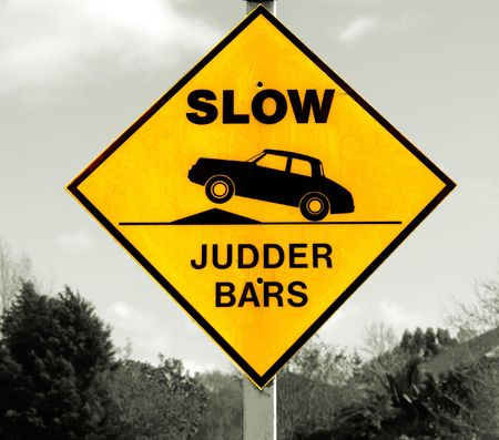 New Zealand, yellow road signs, indicating obstacles, judder bars