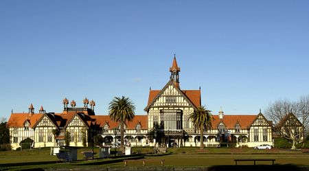 Historic building at the spa resort rotorua in New Zealand