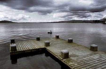 Pier into the still waters of Lake Taupo, New Zealand