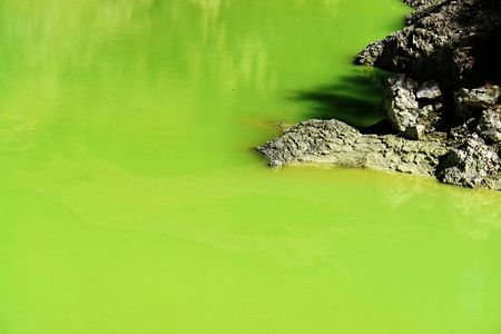Volcanic lake in the thermal area of Rotorua, New Zealand Stock Photo