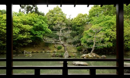 Outlook into a japanese-style zen garden with lake and trees in New Zealand