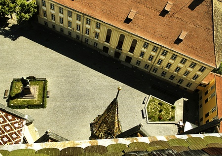 old square seen from church tower