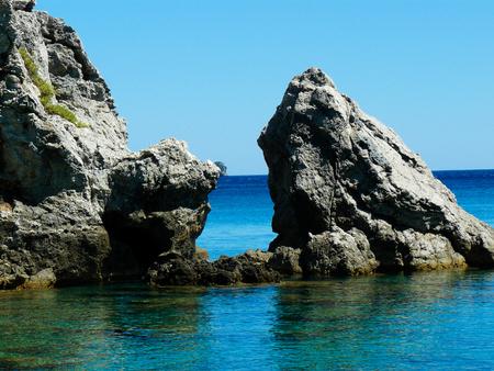 Cretan wild sea coastline from the beach