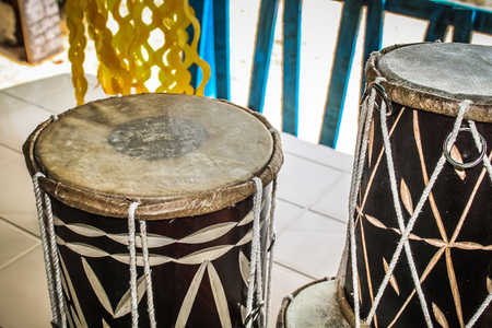 Closeup of drums in southern India