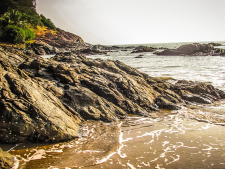 Wild coastline and beach in Karnataka southern India