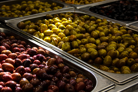 Closeup of olives in a market in Israel Stock Photo