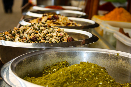 Closeup of spices sold in Israel