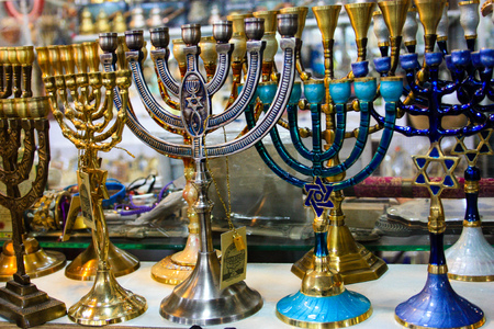 Religious objects in a shop in the bazaar of the old city of Jerusalem in Israel January 28-2018