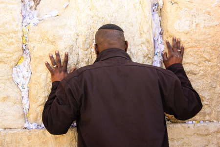 Unknown people praying the front of the wall in the old city of Jerusalem Israel February 5-2018 on the morning Editorial