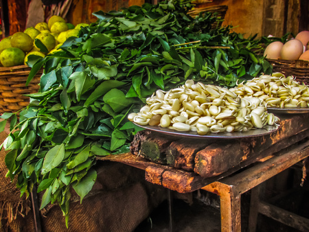 closeup of fruits and vegetables in the market in southern India Stock Photo