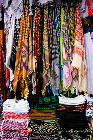 scarves sold in the bazaar of the old city of Jerusalem
