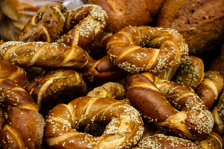 Closeup of breads sold in Israel