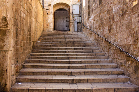 Closeup of a street in the old city of Jerusalem