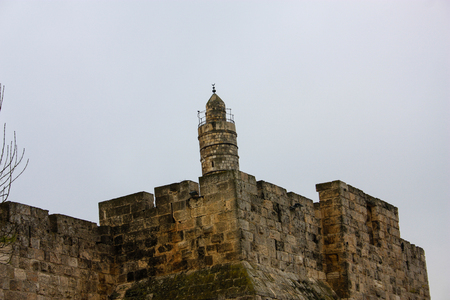 Outer wall of the old city of Jerusalem Stock Photo