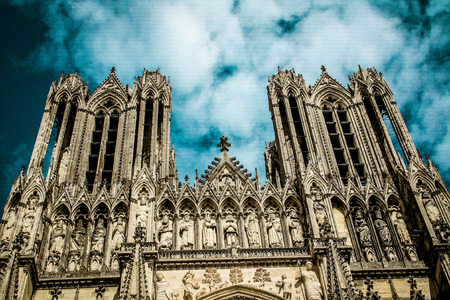 View of the Cathedral of Reims in France