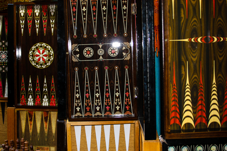 Closeup of various objects in the bazaar of the old city of Jerusalem Stock Photo