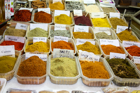 Closeup of spices on the market at Jerusalem in Israel