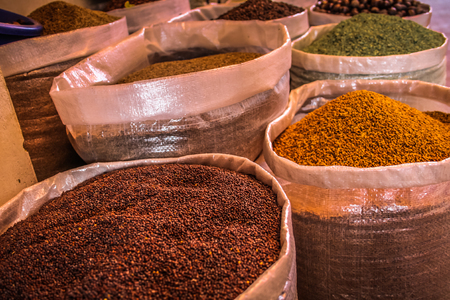 Closeup of different kind of spices Stock Photo