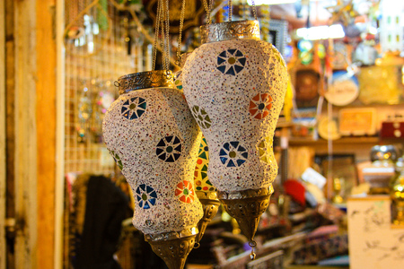 Closeup of handcrafted decorative objects in a shop in the bazaar of Jerusalem