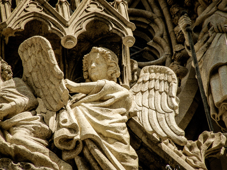 Closeup of the Reims cathedral in France