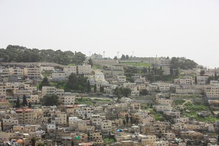 Panorama of the houses and buildings of Jerusalem from the old city