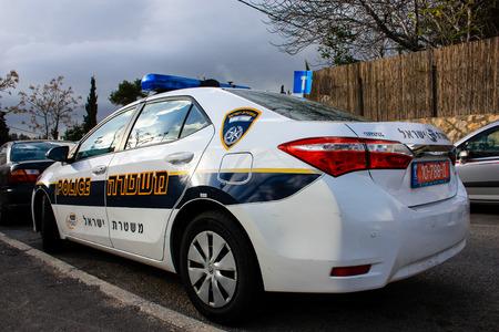Police parked on the street of Jerusalem