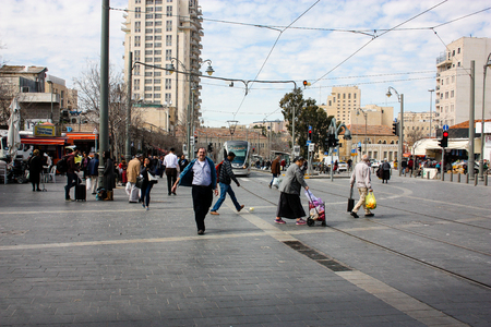 Jerusalem Israel March 4-2018 View of the tramway of Jerusalem and unknowns at Yafo street noon