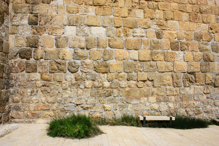 Closeup of the outer wall of the city of Jerusalem in Israel