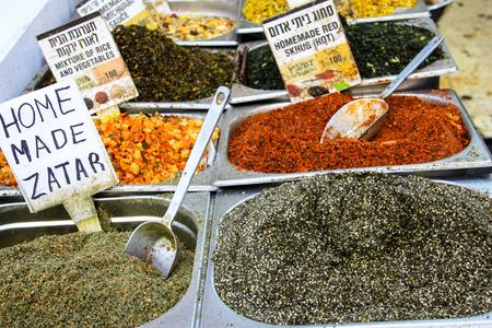 food stand at Mahane Yehuda Market in Jerusalem Stock Photo