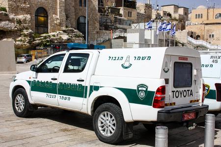Israeli police parked in the street of Jerusalem