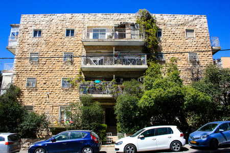 View of the building in Ha Palmah street Katamon area Jerusalem Israel March 14-2018 noon Reklamní fotografie - 97537154