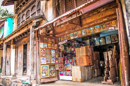 View of an Indian shop in main street at Gokarna Karnataka India October 30, 2017 morning