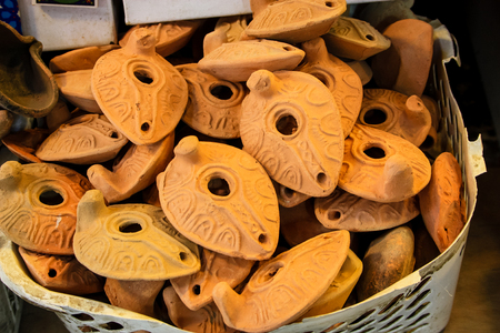 Closeup of handcrafted decorative objects at the bazaar of Jerusalem Israel March 23, 2018 morning Stock Photo