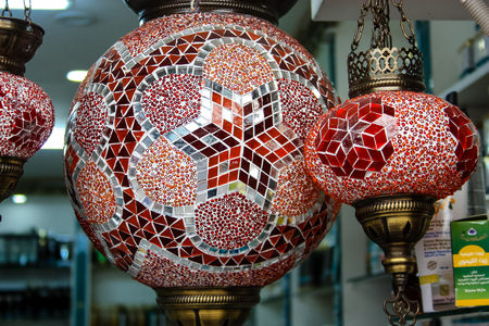 Closeup of handcrafted decorative objects at the bazaar of Jerusalem Israel March 23, 2018 morning Editorial