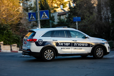 View of an Israeli police car in the street of Jerusalem Editorial