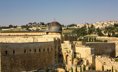 Jerusalem Israel April 16, 2018 Panoramic view of the city of Jerusalem on afternoon