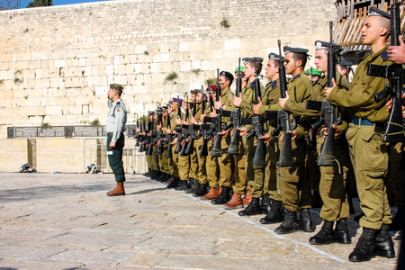 Jerusalem Israel April 16, 2018 Israeli army training for the Independence Day ceremony front the Western Wall of the old city of Jerusalem on afternoon