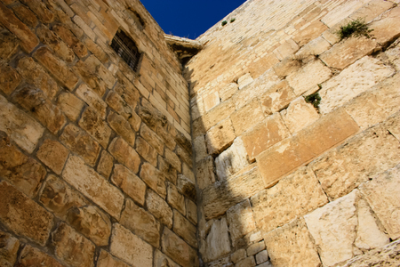 Closeup of the Western Wall in the old city of Jerusalem Israel