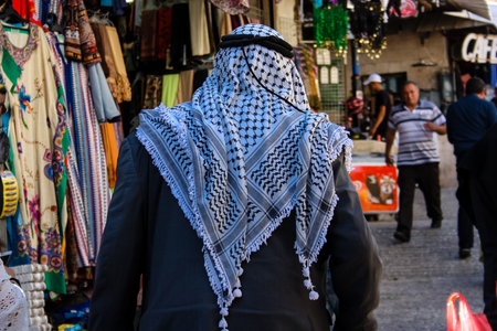 Jerusalem Israel: View of unknown people walking at Damascus gate in the old city of Jerusalem on afternoon